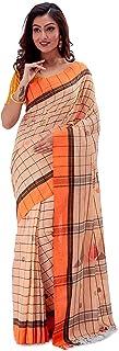 SareesofBengal Women's Khadi Cotton Jamdani Saree Checkered Tangail Handloom Orange