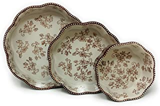 "Temp-tations Set of 3 Nesting Bakers, Layer Cake Pan, 10"", 8"", and 6"", Flower Shape Dish (Floral Lace Chocolate)"