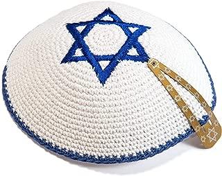 JL Kippha's Knitted Cotton 16cm White Navy Blue Magen David Kippah Jewish Kipa Israel Yarmulke Synagogue