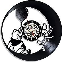 Levescale - Winnie The Pooh Vinyl Wall Clock - Vintage Style for Kids, Friends - Decoration for Bedroom, Living Room - Tigger's Honey Hunt - Adventures - Poo Bear - Cartoons - Honey
