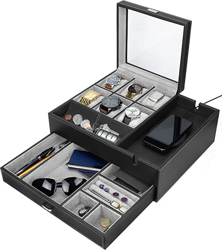 HOUNDSBAY Commander Dresser Valet Watch Box Case Mens Jewelry Box Organizer With Smartphone Charging Station Black Gray