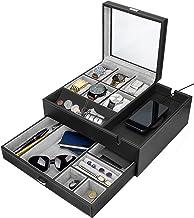 HOUNDSBAY Commander Dresser Valet Watch Box Box Case & Mens Jewelry Box Organis with Station Smartphone (سیاه و خاکستری)