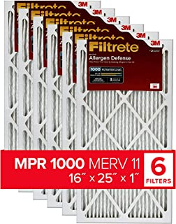 Best Filtrete 16x25x1, AC Furnace Air Filter, MPR 1000, Micro Allergen Defense, 6-Pack (exact dimensions 15.69 x 24.69 x 0.81) Review