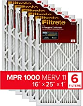 Filtrete 16x25x1, AC Furnace Air Filter, MPR 1000, Micro Allergen Defense, 6-Pack (exact dimensions 15.69 x 24.69 x 0.81)