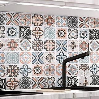 comprar comparacion KINLO Papel Pintado Pared Adhesivo con la Imagen Mosaico Retro Colores, Pegatina de PVC para Decorar Azulejos Muebles Coci...