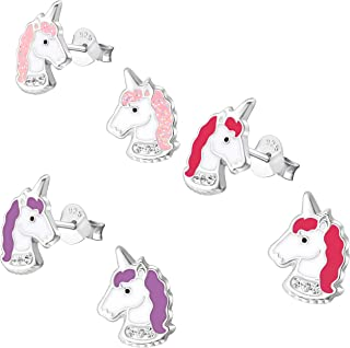 Set of 3 Pairs Hypoallergenic Sterling Silver Unicorn Stud Earrings for Little Girls