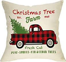 Softxpp Christmas Farmhouse Decorative Throw Pillow Cover Vintage Red Buffalo Plaid Truck Winter Holiday Decoration Xmas Tree Farm Sign Home Decor Cushion Case for Sofa Couch 18 x 18 In Cotton Linen