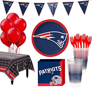 Party City New England Patriots Super Party Supplies for 18 Guests, Include Plates, Napkins, Table Cover, and Balloons
