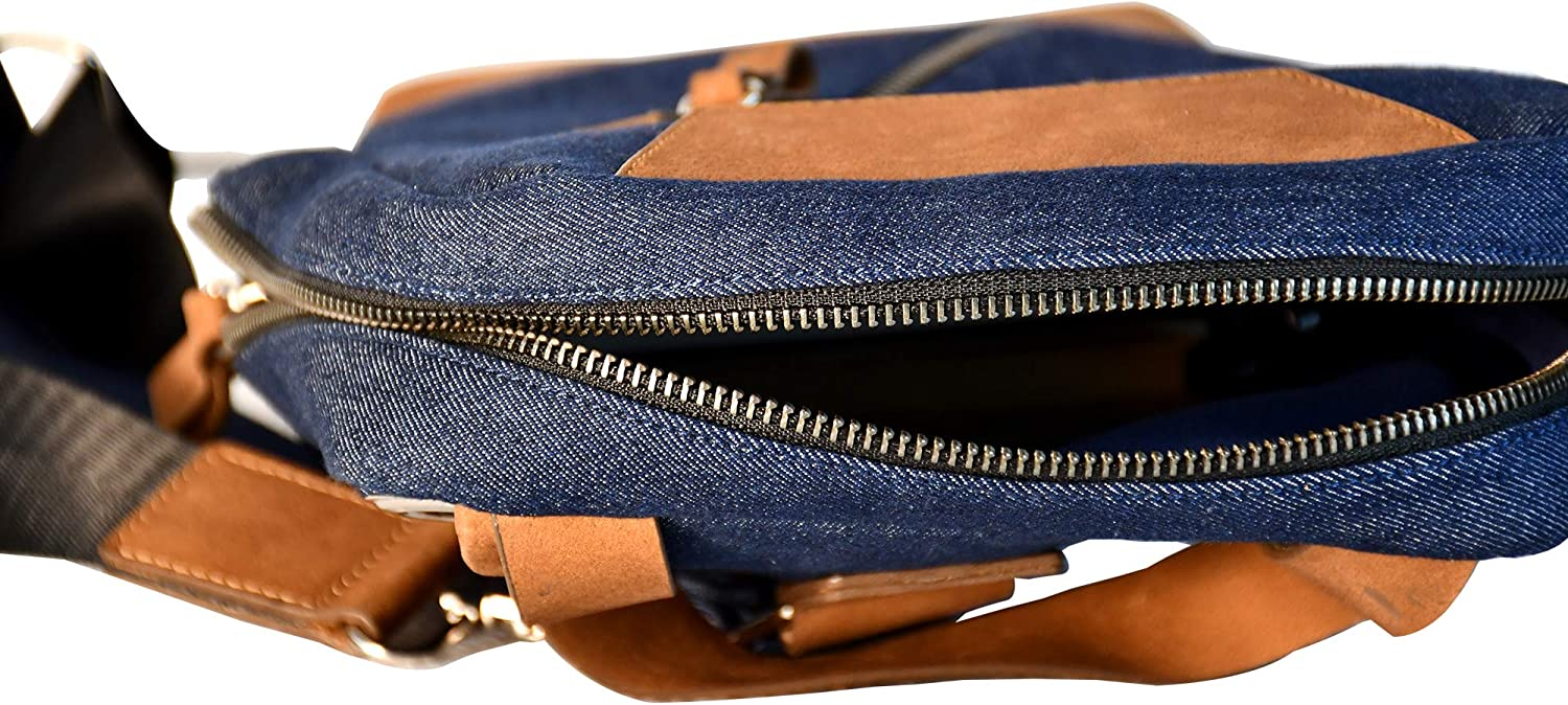 Tag-Wear casual vertical chest Cross Body Bag, (denim & leather)