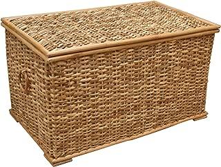 Baúl de mimbre, cesta de almacenamiento forrada, ratán rú