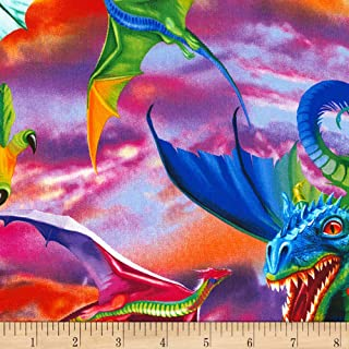 Timeless Treasures Bright Dragons Fabric by The Yard