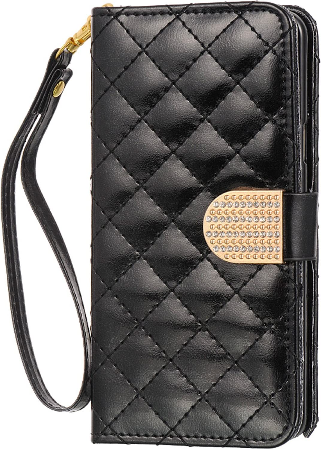 SLectionAccess Shiny Quilt Design Wallet Pouch with Removable Wristlet for Samsung Galaxy Note 5 - Black