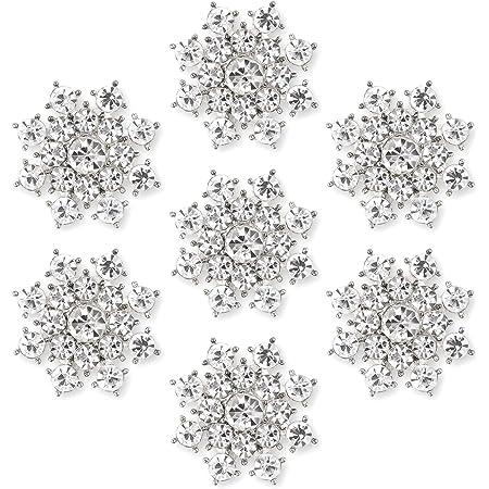 CraftbuddyUS 50 x 15mm Cream Acryl Pearl Snowflakes Wedding Stick On Topper Card