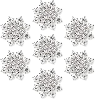 Silver Crystal Snowflake Rhinestone Buttons Brooches - YIMIL Flat Back Rhinestone Buttons for Crafts Flower Embellishments Brooches Hair Accessories, Pack of 24.