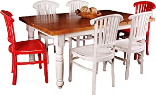 Sunset Trading Shabby Chic Cottage Dining Set, Large, One Size, Whitewash/Salvage Top/Red