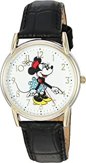 Disney Minnie Mouse Women's Two Tone Cardiff Alloy Watch, Black Leather Strap, W002769