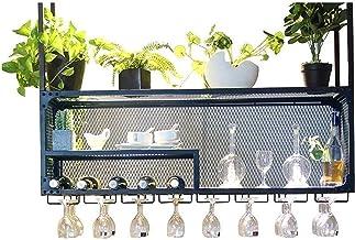 Wine Rack Wine Glass Holder,Hanging Wine Glass Holder Iron Art Stemware Glass Organizer Decoration Shelf for Bars Restaura...