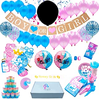 Gender Reveal Party Supplies(210 Piece kit)-Including-Plates-Cutlery Set 24 -Mommy Sash-36''Reveal Balloon-Baby Shower Decorations-Confetti Balloons-Boy/Girl Banner-Photo Props-The Ultimate Party Kit