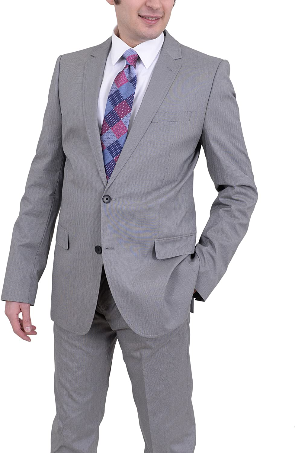 Hugo Boss Aiko1/heise Slim Fit Gray Mini Check Two Button Stretch Suit