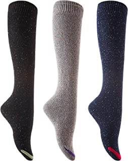 Lian LifeStyle Big Girl's Women's 3 Pairs Pack Knee High High Crew Cotton Boot Socks Size 7-9 L158212-3p