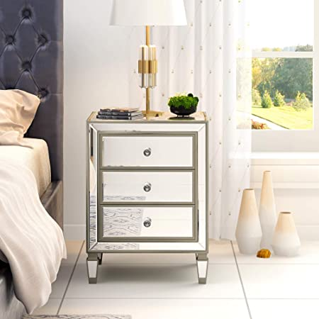 Table de Chevet Miroir en Verre Meuble de Rangement avec 3 Tiroirs sur Salon, Chambre, Bureau, 39,6 x 30 x 62 cm