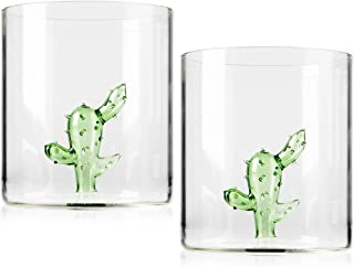 Margarita Glasses - Set of 2 - Cactus Margarita Glass | Lead-Free Handblown Seamless Glass, Large 16oz - Stemless Low Ball Cocktail Tumblers - Tequila Tasting Glasses.