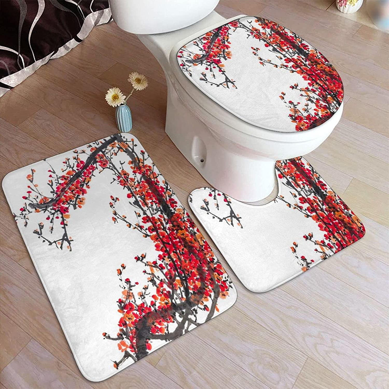 HASENCIV Courier shipping free shipping 3 Piece Bathroom Rug Traditional Chinese Max 83% OFF Painti Set The