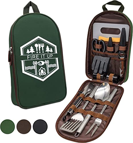 13 PC Grilling and Cooking Utensils for The Outdoors Barbeque - High Grade Stainless Steel Camping Kitchen Cookware G...