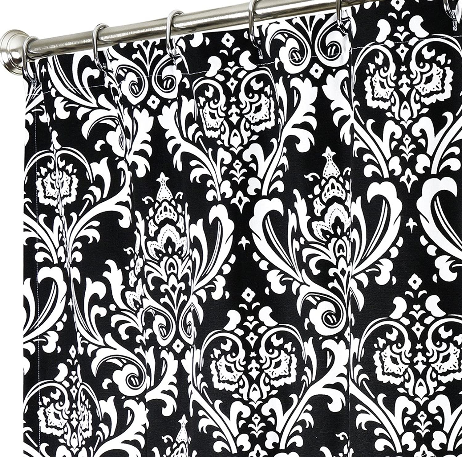 Black and White Shower Curtain Damask Fabric Shower Curtains for Bathroom Decor 100% Cotton Cloth 72 Inch x 84 Inch