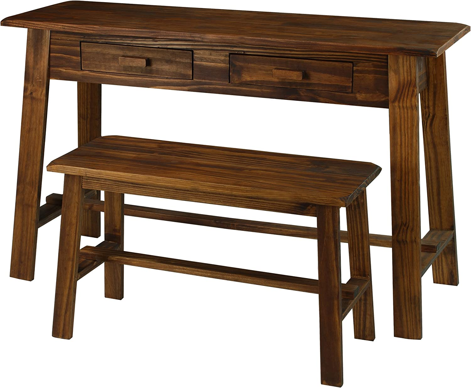 Casual Home 354-07 Nostalgia Rustic Desk with Bench, Mocha