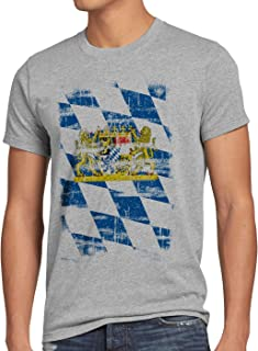 Bayern Vintage Flagge Herren T-Shirt München Oktoberfest Fussball FC