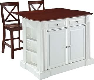 Crosley Furniture Drop Leaf Kitchen Island/Breakfast Bar with 24-inch X-Back Stools, White / Classic Cherry