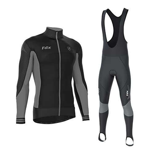 58a7e0b9c FDX Mens Thermodream Cycling Jersey Winter Thermal Padded Bib tights Combo  set