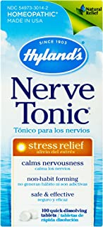 Stress and Anxiety Relief Supplement, Quick Dissolving Tablets, Nerve Tonic by Hyland's, Natural Relief of Restlessness, Nervousness and Irritability Symptoms, Non-Habit Forming, 100 Count