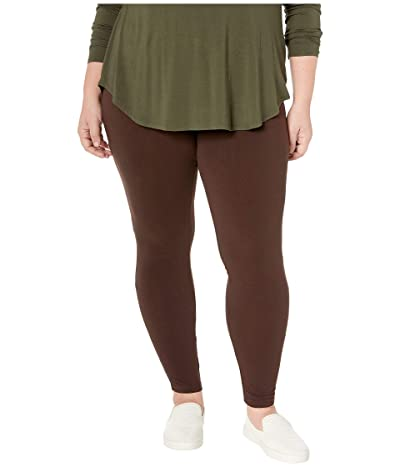 HUE Plus Size Wide Waistband Blackout Cotton Leggings (Espresso) Women