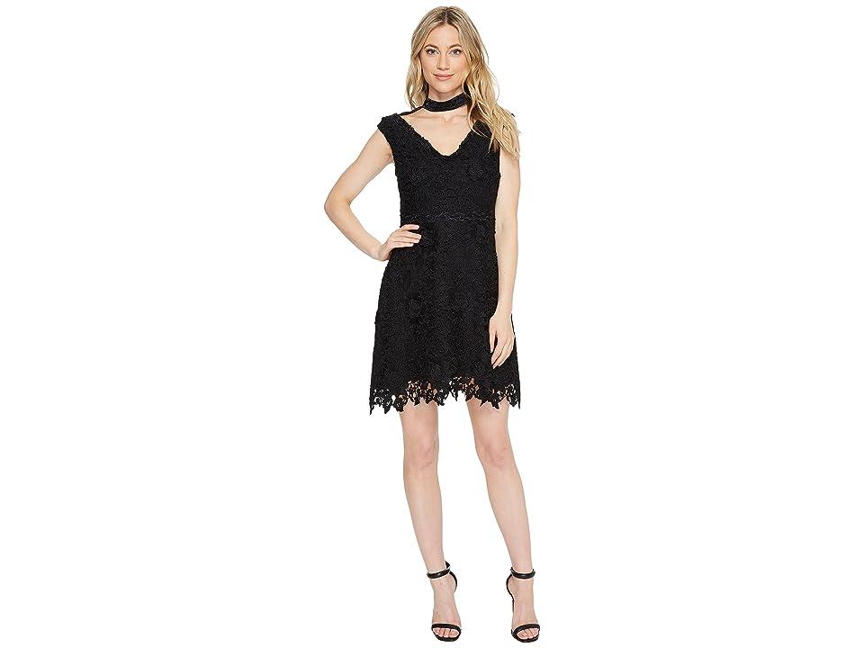 Laundry by Shelli Segal Cap Sleeve V-Neck Fit Flare Dress (Black) Women
