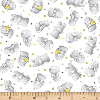Timeless Treasures White Little Star Flannel Happy Bunnies Fabric by The Yard