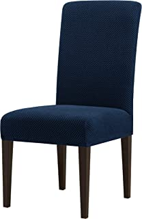 subrtex Jacquard Dining Room Chair Slipcovers Sets Stretch Furniture Protector Covers for Armchair Removable Washable Elastic Parsons Seat Case for Restaurant Hotel Ceremony, 4, Blue