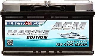 AGM batteri 120 AH Electronicx Marine Edition Boot fartygsförsörjningsbatteri 12 V batteri djupbåt batteri bilbatteri solb...
