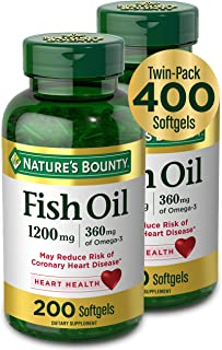 Fish Oil by Nature's Bounty, Dietary Supplement with 360mg Omega-3, Supports Heart Health, 1200mg, 200 Softgels (Pack of 2)