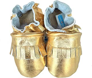 product image for FRINGE MOCS (metallic gold) Handmade in USA, All-Natural Leather Baby Shoes.
