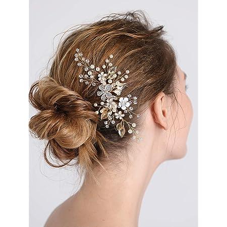 Women//Bridal/'s Flower Crystal Rhinestone Headband Clip Comb Pin Wedding