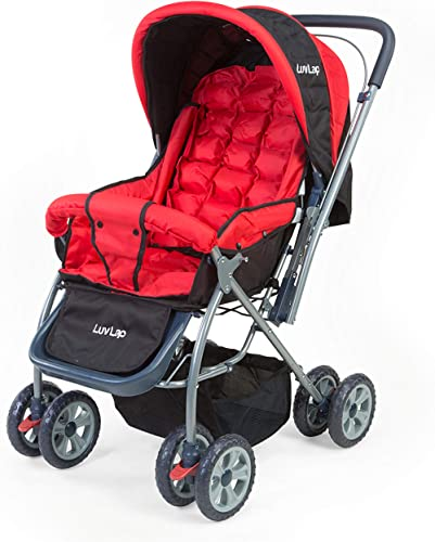 LuvLap Starshine Stroller/Pram, Easy Fold for Newborn Baby/Kids, 0-3 Years (Red)