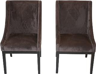 Home Life Contemporary Microfiber Modern Sofa Arm Chairs (Set of 2), Dark Brown