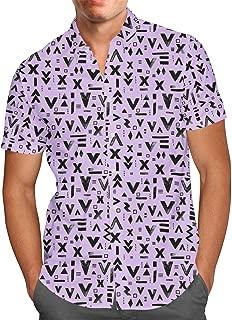 Rainbow Rules Inked Geometric Symbols Mens Button Down Short Sleeve Shirt