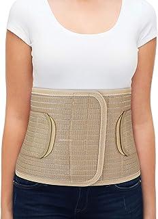 "ORTONYX Breathable 9.5"" Abdominal Binder/Postpartum Postoperative Wrap/Abdomen Hernia Support Belt for Men and Women - L/XL (32""-43"") Beige"