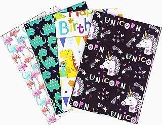 Funmo Papier de Papier Cadeau Enfants, Papier D'Emballage Cadeau, Motifs Assortis Respectueux de L'environnement Décoratio...