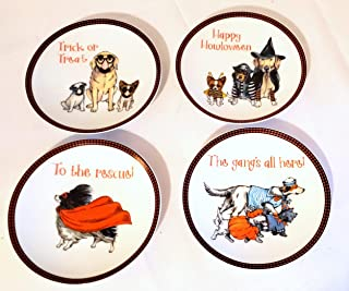 New Pier One Dogs Puppies in Costumes Decorative Plate Set of 4 Assorted Plates 6