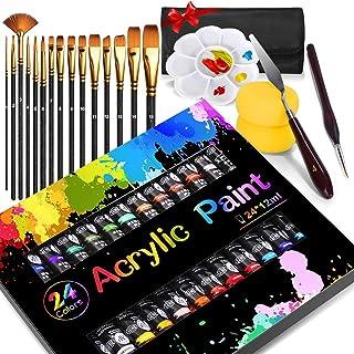 Buluri Peinture Acryliques, Peinture Acrylique Gouache Livré avec 15 Haute Qualité Nylon Pinceaux Peinture, Spatule Palett...
