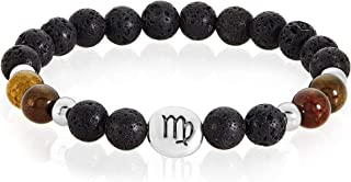 | Crucible Zodiac Sign Agate and Lava Stone Slip-on Beaded Bracelet with Birth Sign Horoscope Charm